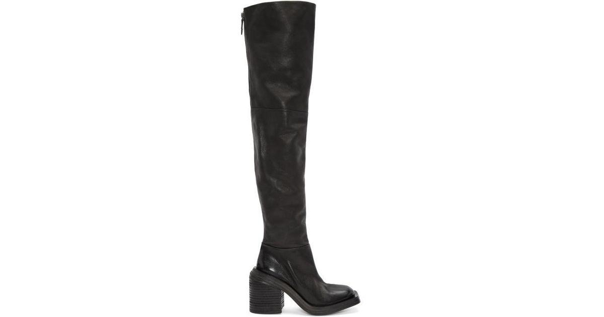 Marsèll Black Leather Quad Over-the-Knee Boots BcTkjGJ