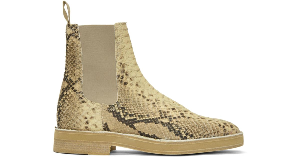 c05eab82571 Yeezy Beige Faux-python Chelsea Boots in Natural for Men - Lyst