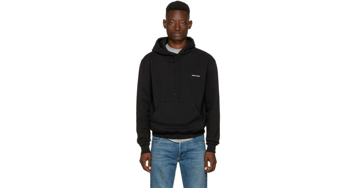 446db2619e1 Lyst - Balenciaga Black Small Logo Hoodie in Black for Men