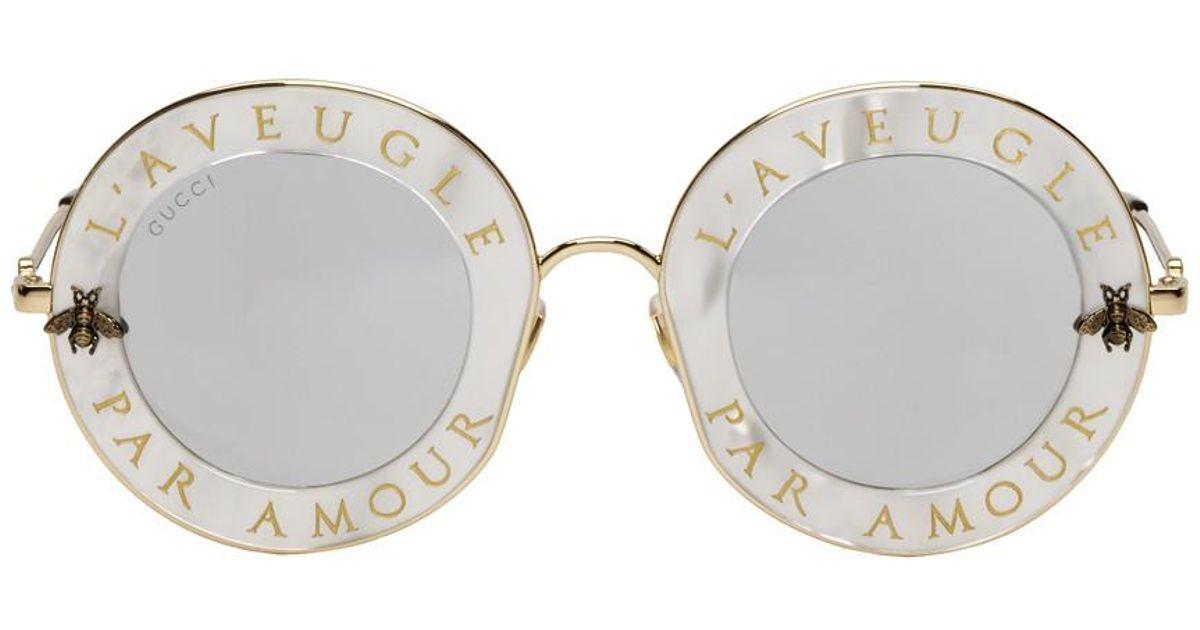 Lyst - Lunettes de soleil blanches LAveugle Par Amour Romantic Gucci en  coloris Blanc f61f69bd67ff