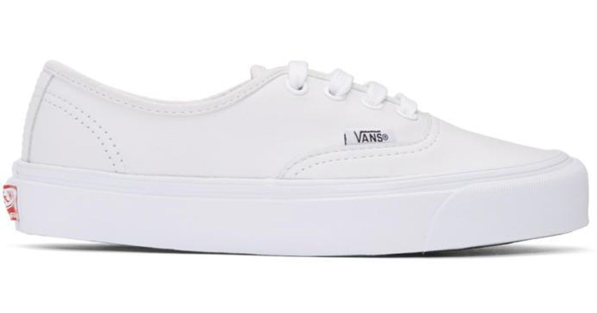 9fa8dee67326 Lyst - Vans White Leather Og Authentic Lx Sneakers in White