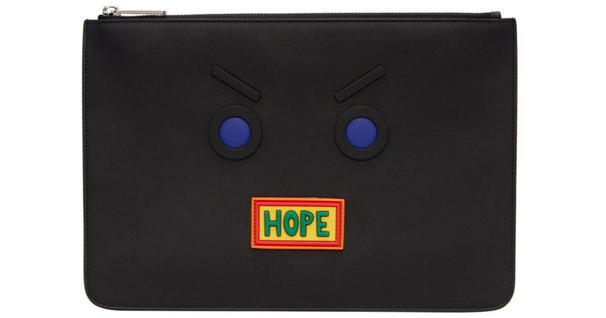 91909aa9cdc8 Lyst - Pochette noire Faces Hope Fendi pour homme en coloris Noir