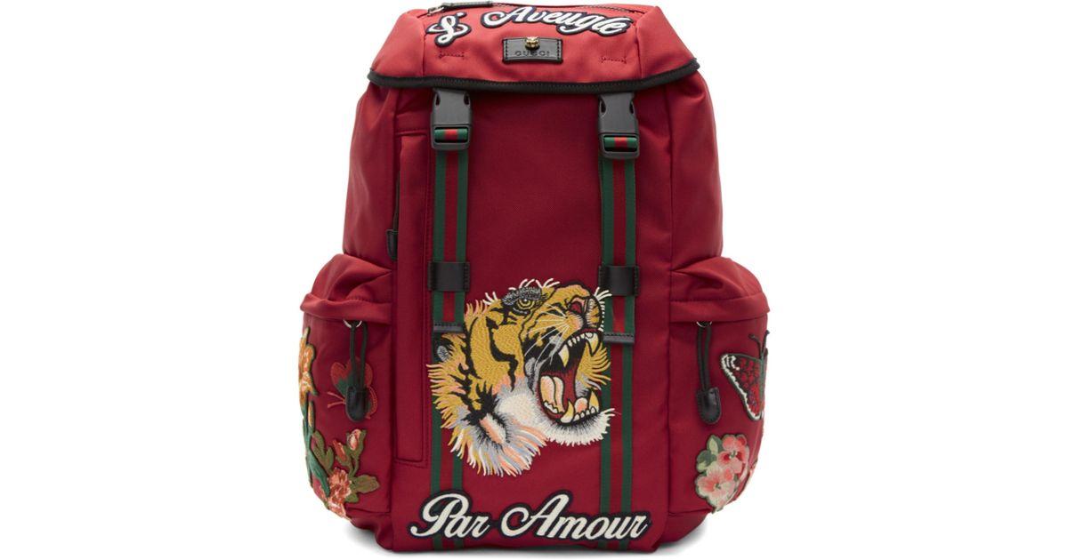 Lyst - Sac a dos rouge LAveugle Par Amour Techpack Gucci pour homme en  coloris Rouge 54687b35d79