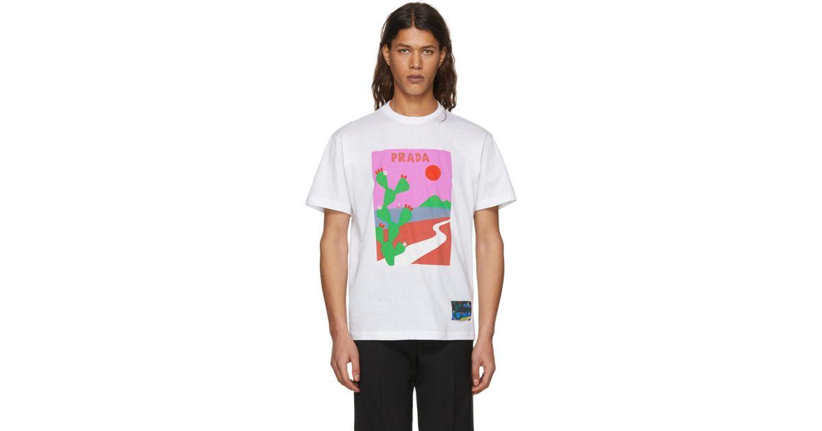 White Outline T-Shirt Prada Cheap Sale Good Selling xHvHIa