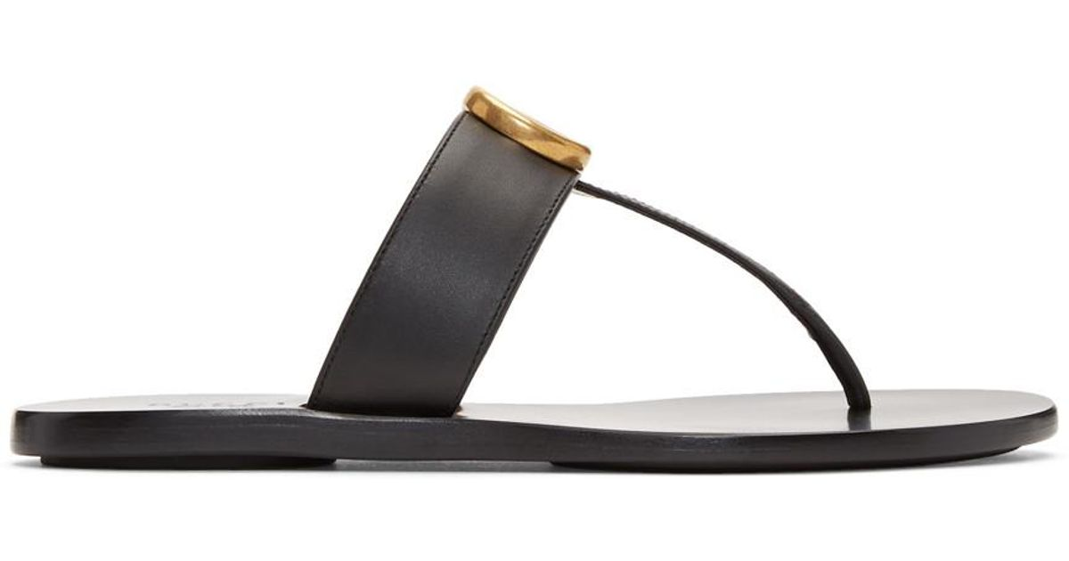 8771193150a3 Lyst - Gucci Black Double G Leather Thong Sandals in Black - Save 17%