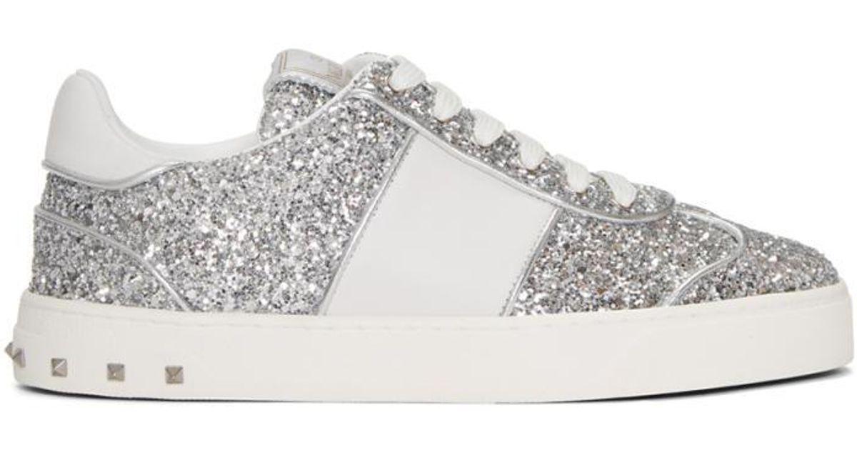 3a16ba4ce581 Valentino Silver Garavani Glitter Flycrew Sneakers in Metallic - Lyst