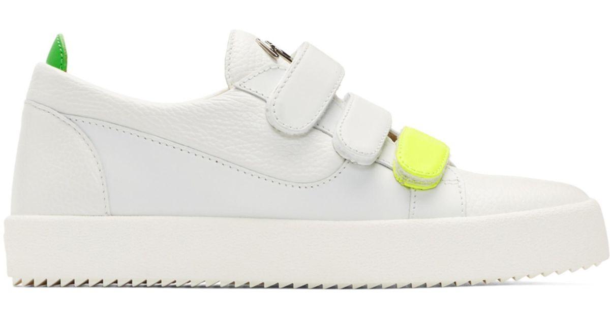Giuseppe Zanotti White May London Velcro Sneakers