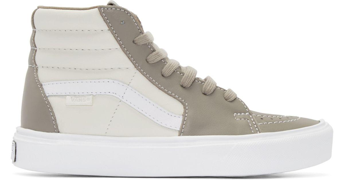 2d8c3de913 Vans Taupe   Ivory Sk8-hi Lite Lx High-top Sneakers in White - Lyst