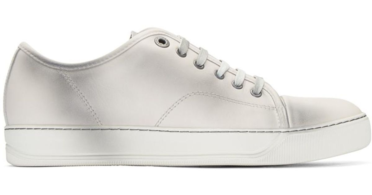 c50a5f50693 Lanvin Ivory Leather Stained Sneakers in White for Men - Lyst