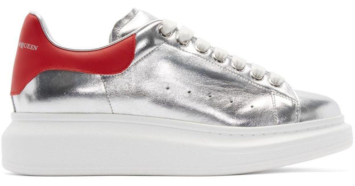 c8d17dc5bba1 Lyst - Alexander McQueen Silver   Red Leather Sneakers in Metallic for Men