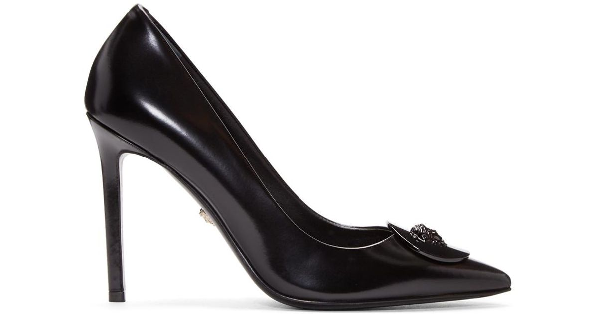 a4db6002db08 Lyst - Versace Black Leather Medallion Heels in Black
