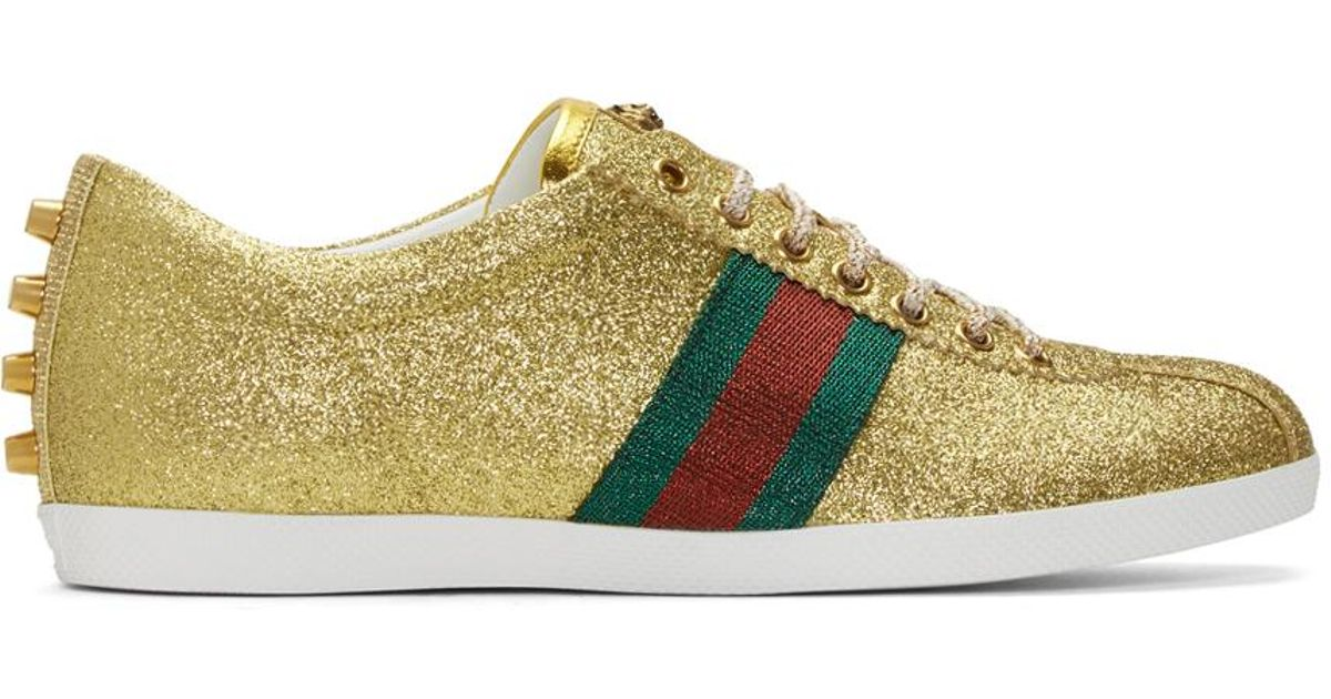 Lyst - Gucci Gold Glitter Bambi Sneakers in Metallic for Men 3935056c1