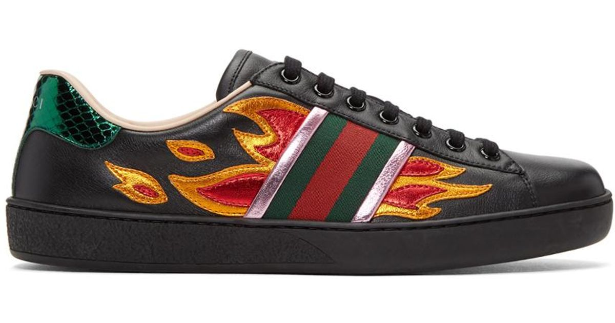 3afa8b0704a Lyst - Gucci Black Flames Ace Sneakers in Black for Men