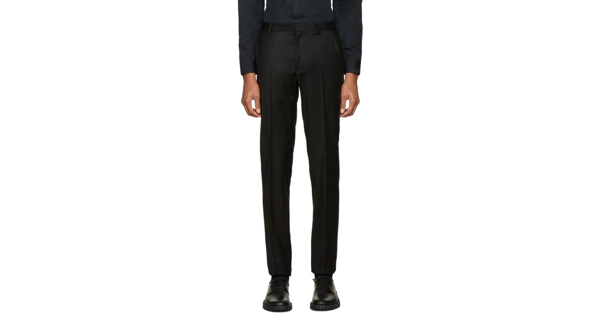 Calvin klein Black Wool Exact Trousers in Black for Men | Lyst