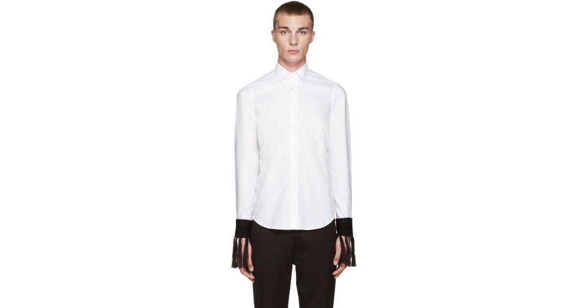 Loewe White Fringed Cuff Shirt In Black For Men Lyst