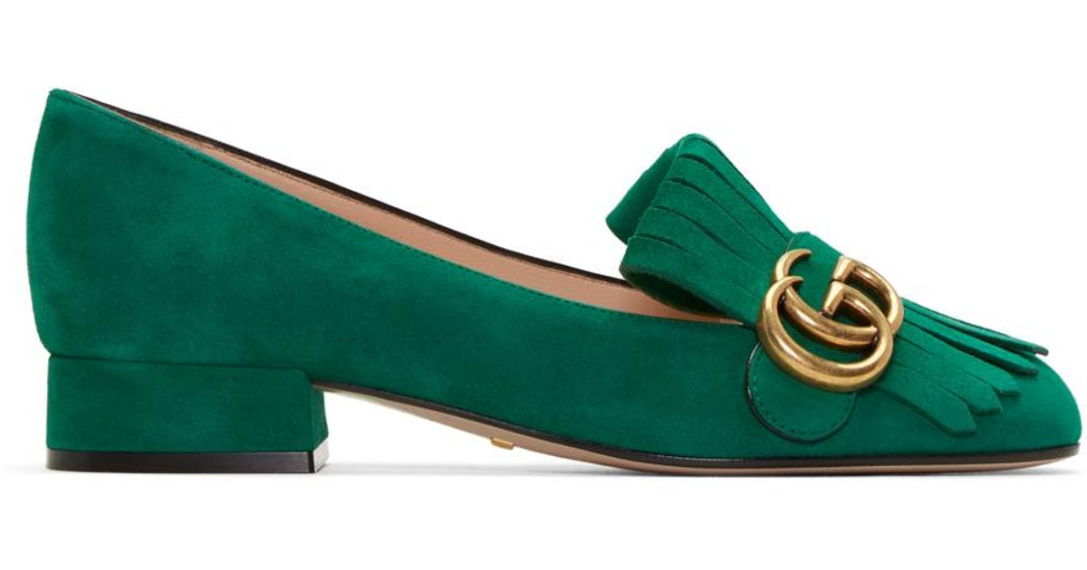 a50ef2ea511 Lyst - Gucci Green Fringe Marmont Loafer in Green