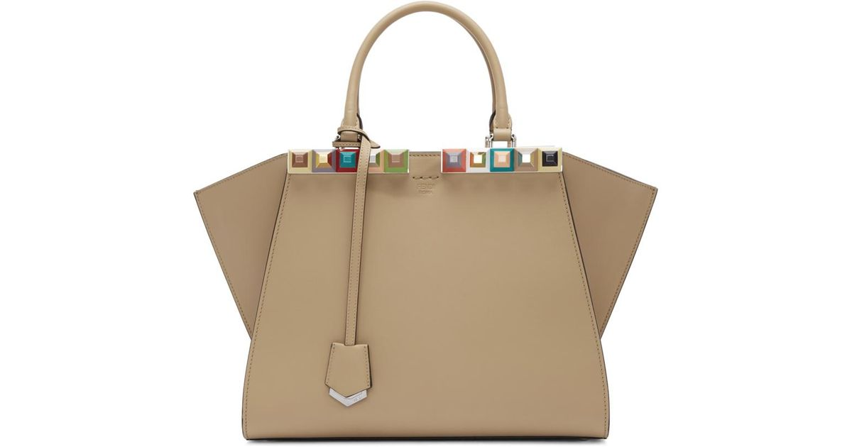 8bb5515715e Lyst - Fendi Tan Studded 3jours Tote in Brown