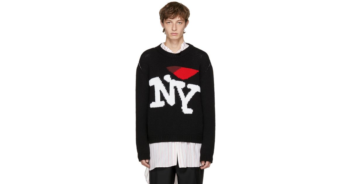 Lyst Raf Simons Black I Love Ny Sweater In Black For Men