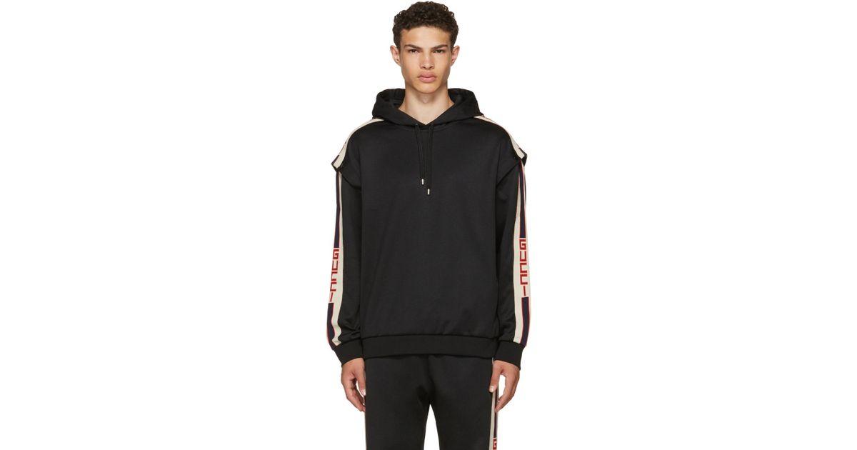 1fc5dfc6de3 Lyst - Gucci Black Logo Tape Hoodie in Black for Men