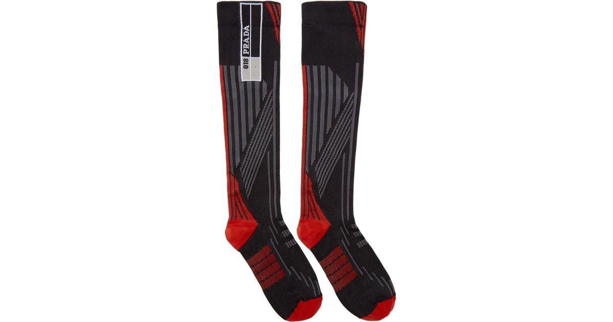 Wide Range Of Cheap Online Newest Sale Online Red and Black Logo Socks Prada Sale Very Cheap T1XrQkrjFP