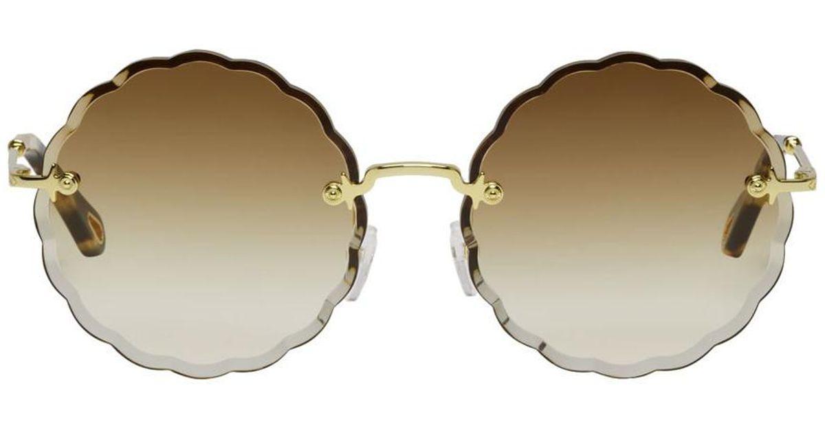 92fd21688c Lyst - Chloé Gold Rosie Sunglasses