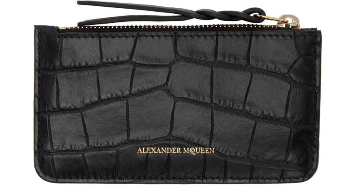Alexander McQueen croc effect coin purse Buy Cheap Pay With Paypal Jsjp3y