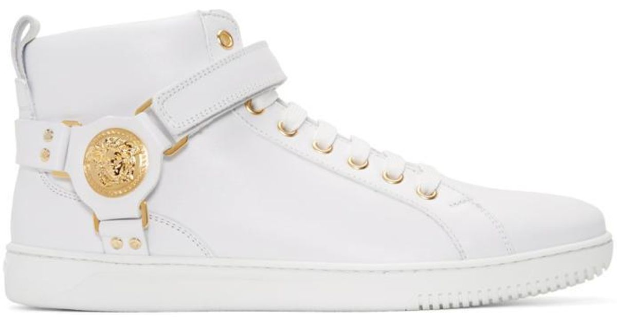 00e5d01bc40 Versace White Harness High-top Sneakers in White for Men - Lyst