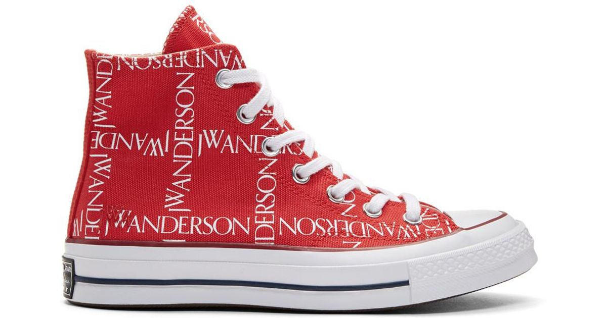6da99f75a45 J.W. Anderson Red Converse Edition Grid Logo Sneakers in Red - Lyst