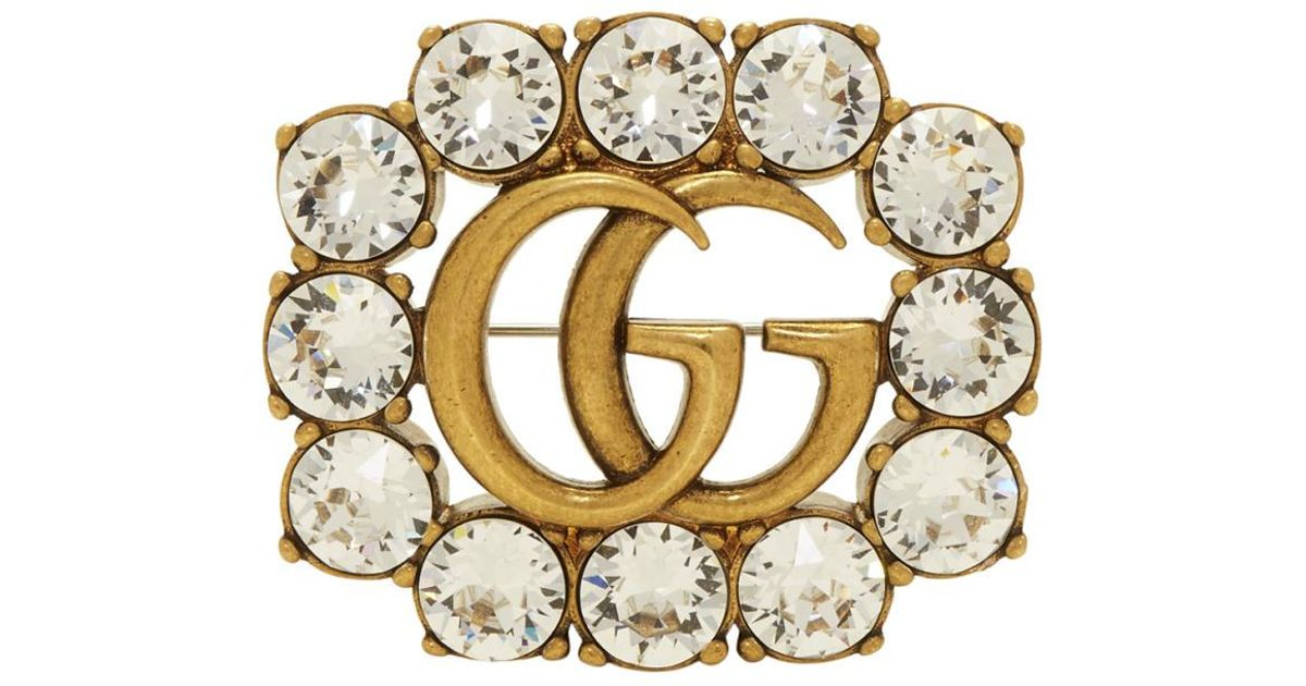 d26a199b5 Gucci Gold Gg Crystal Marmont Brooch in Metallic - Lyst