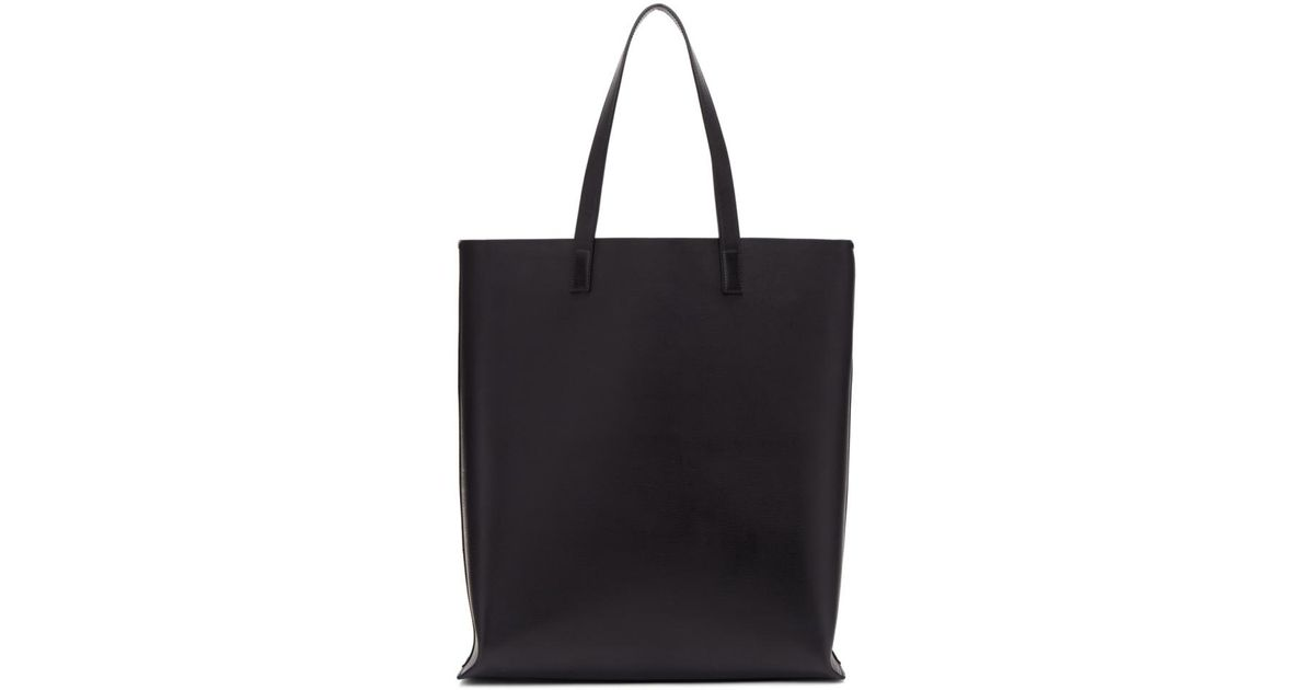Lyst - Saint Laurent Black Perforated Logo Shopping Tote in Black 8a2ea8ed05