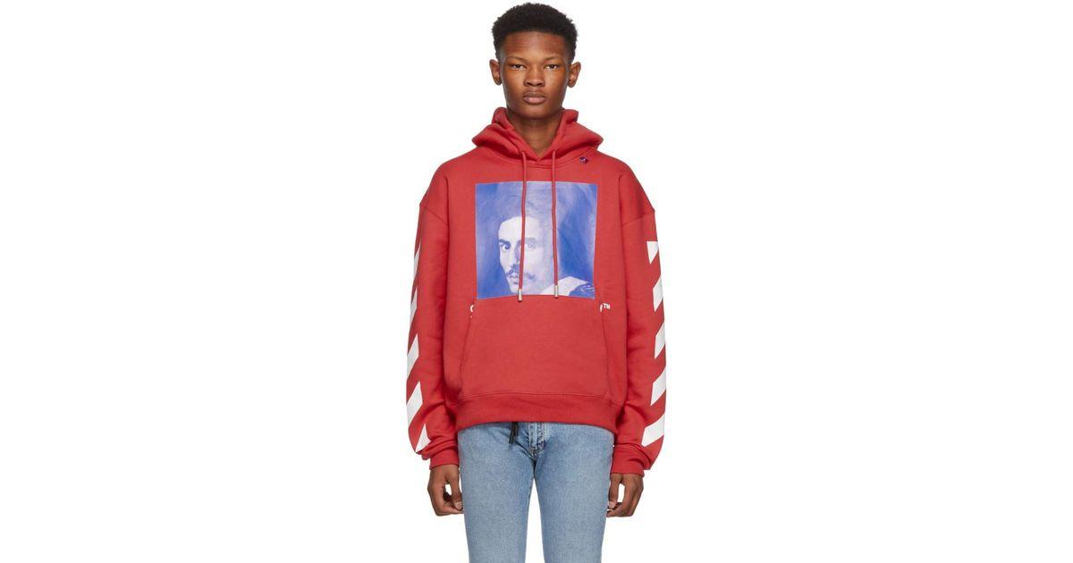 99b835f49f8f Lyst - Colour-block print hoodie Off-White c o Virgil Abloh pour homme en  coloris Rouge