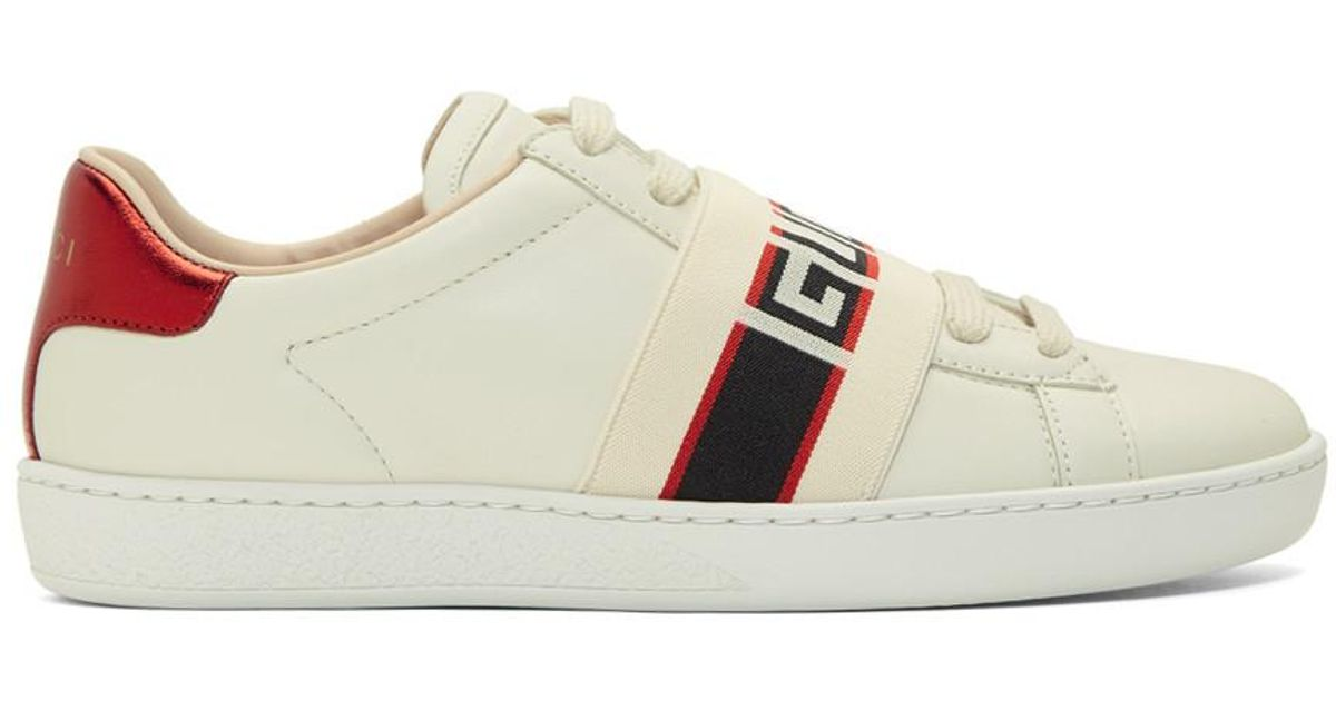 a879660325c Gucci White Elastic Band New Ace Sneakers in White - Lyst