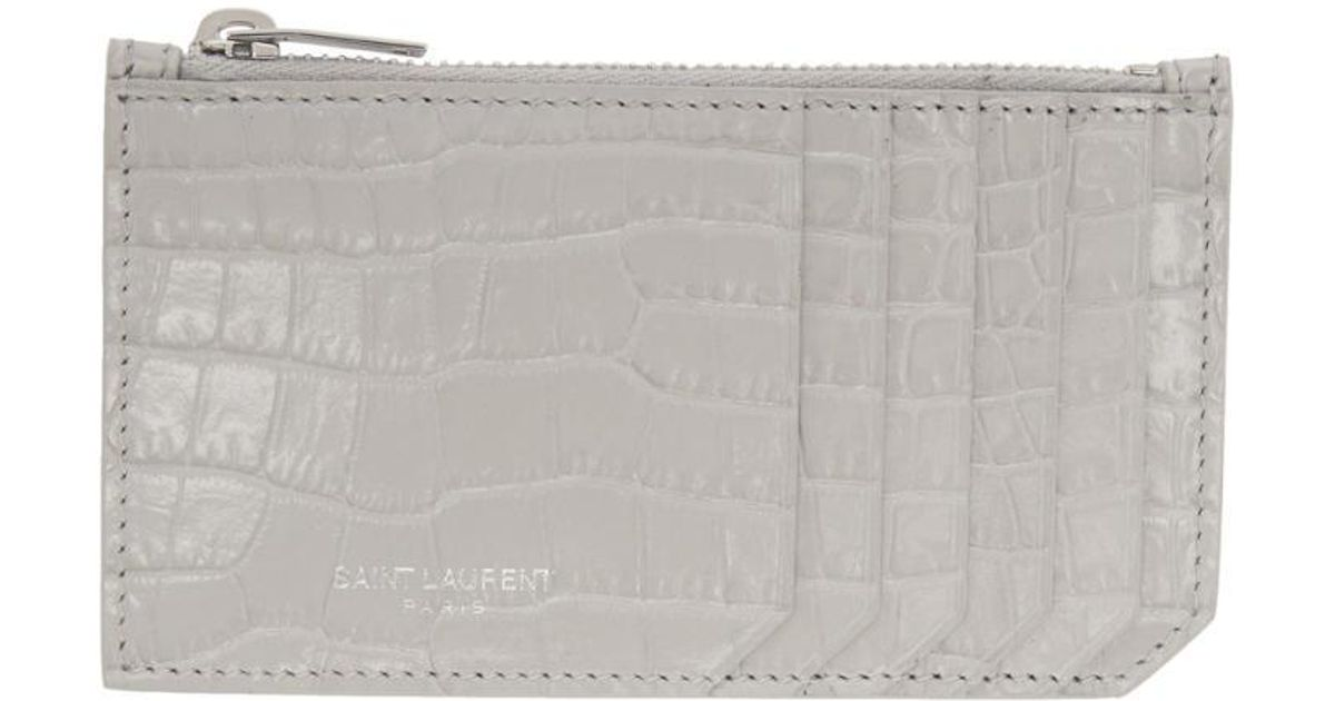bbcdcab02e5 Saint Laurent Grey Croc 5 Fragments Zip Card Holder in Gray - Lyst
