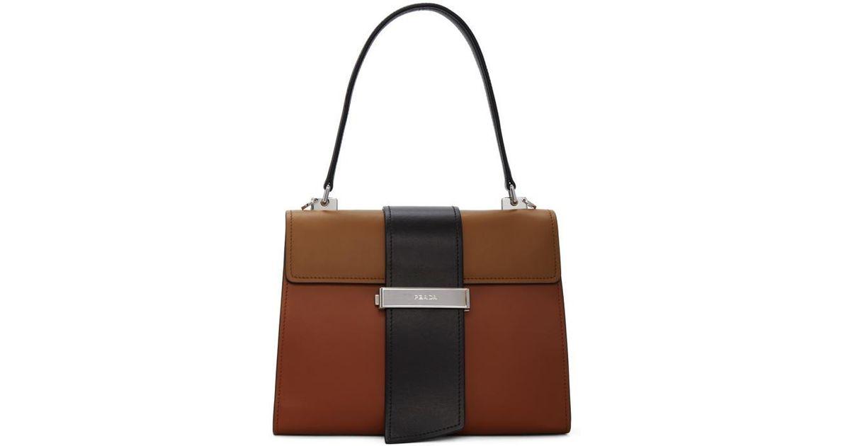b6dcdbe102a2 Lyst - Prada Tricolor Metal Ribbon Bag in Brown