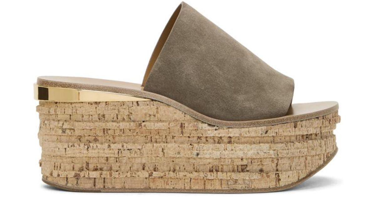 78491d9b95 Chloé - Gray Grey Suede Camille Sandals - Lyst