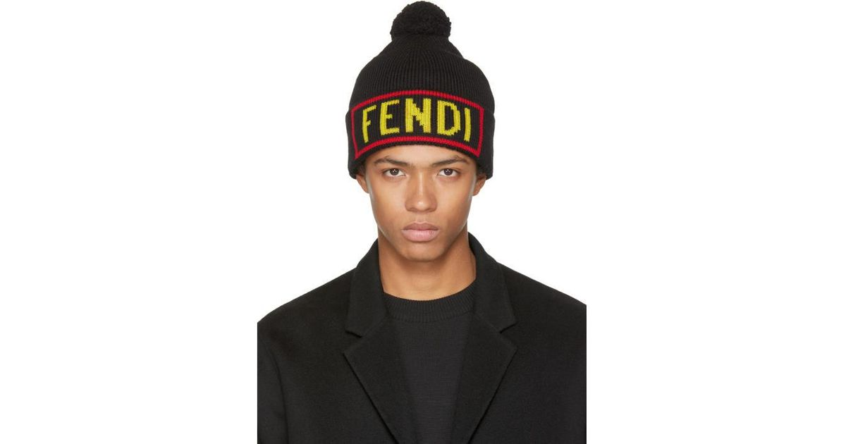 dee8c35c79c Lyst - Fendi Black  love  Pom Pom Beanie in Black for Men