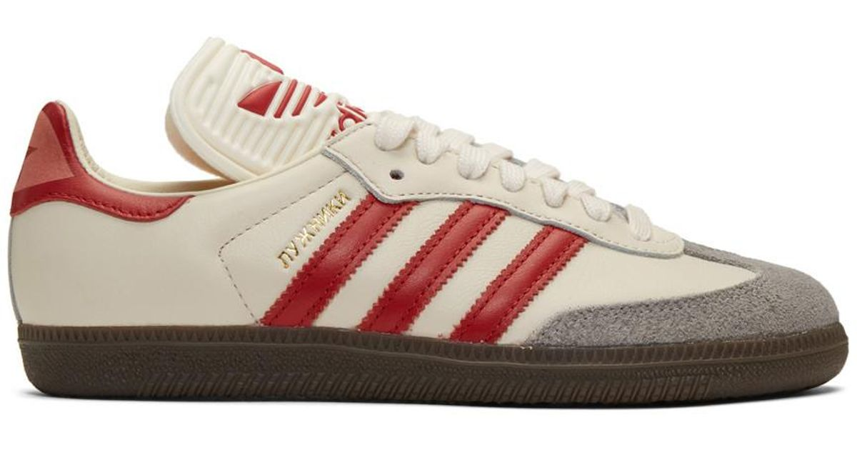 Lyst - adidas Originals Off-white And Red Samba Og Sneakers in White for Men 9844019d3