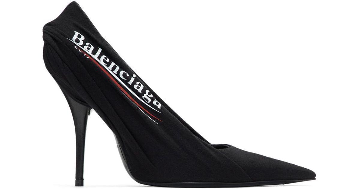 Balenciaga Black Campaign Logo Knife Heels in Black - Lyst 66b5ffee39f5
