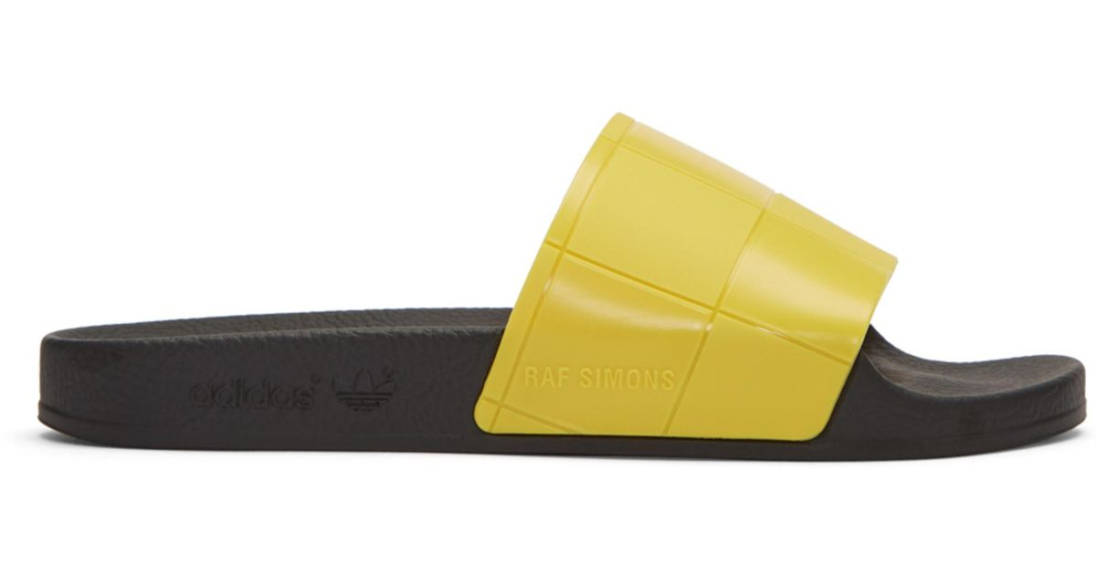8adcb9536 Raf Simons Yellow Adidas Originals Edition Checkerboard Adilette Slides in  Yellow - Lyst