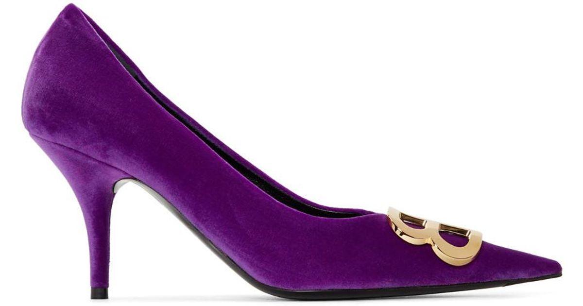 Balenciaga Purple Velour Heels in Purple - Lyst 232a987717b3