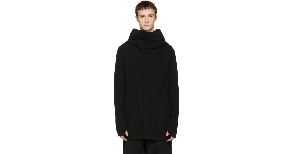 Nude:mm Black Cotton Parka Cardigan in Black for Men | Lyst