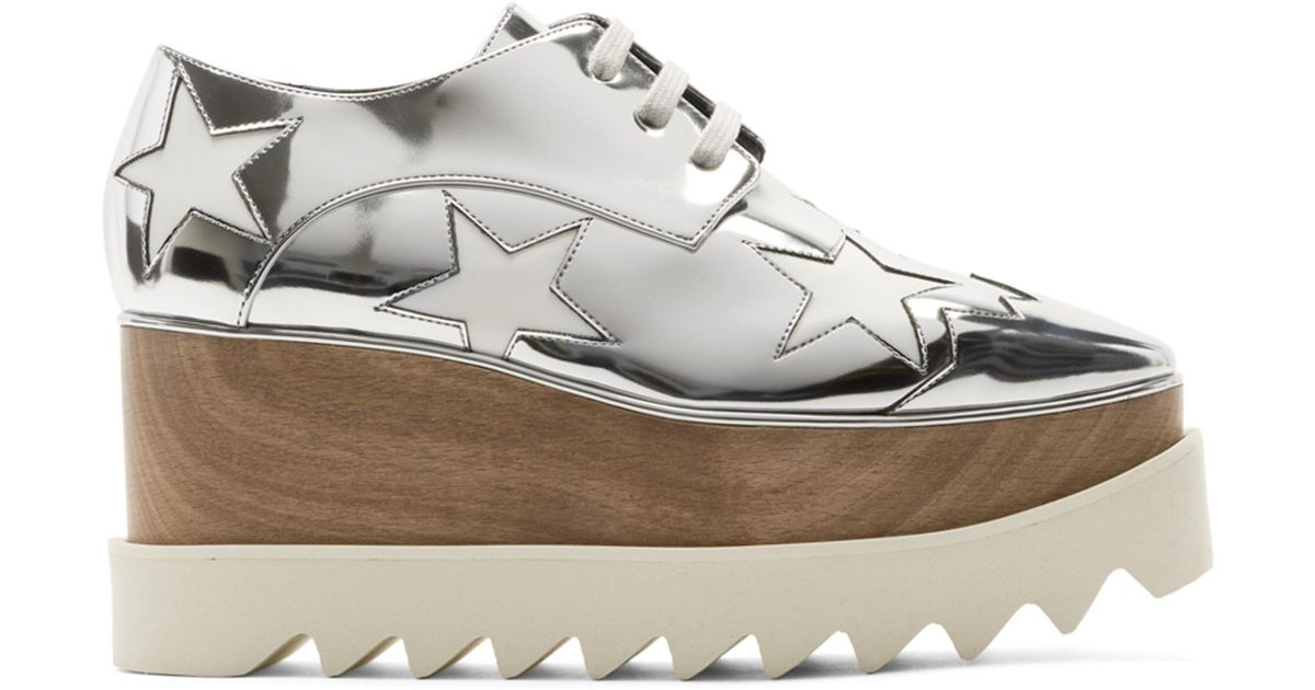 Stella McCartney Silver Metallic Elyse Stars Derbys