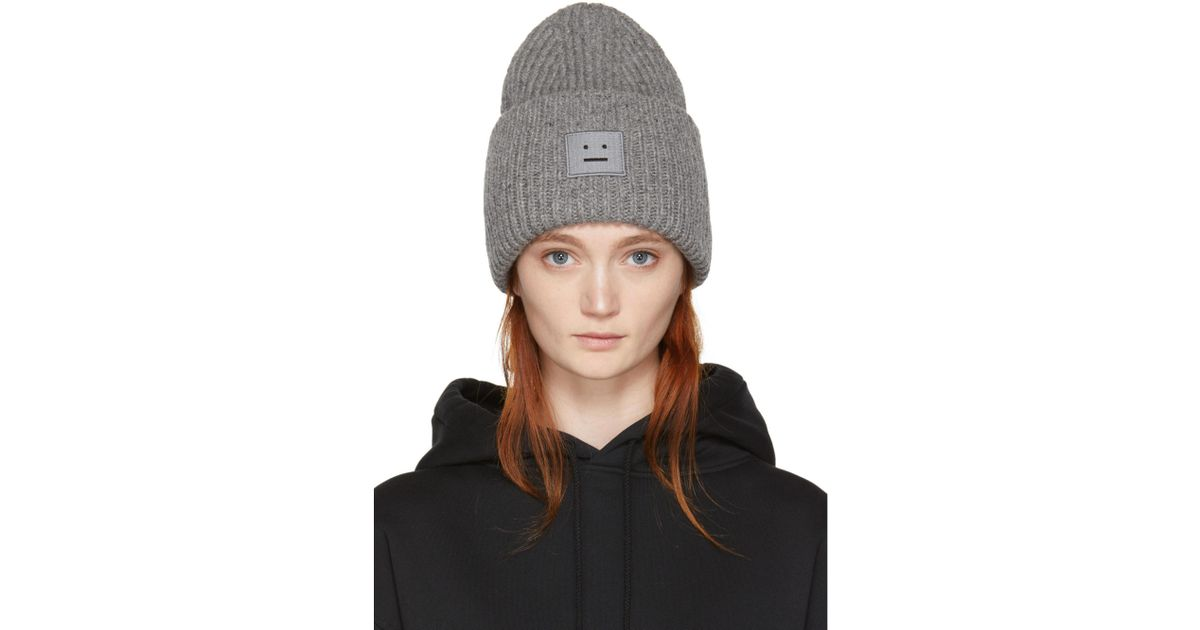 06143dc09b2 Acne Studios Grey Pansy Face Beanie in Gray - Lyst