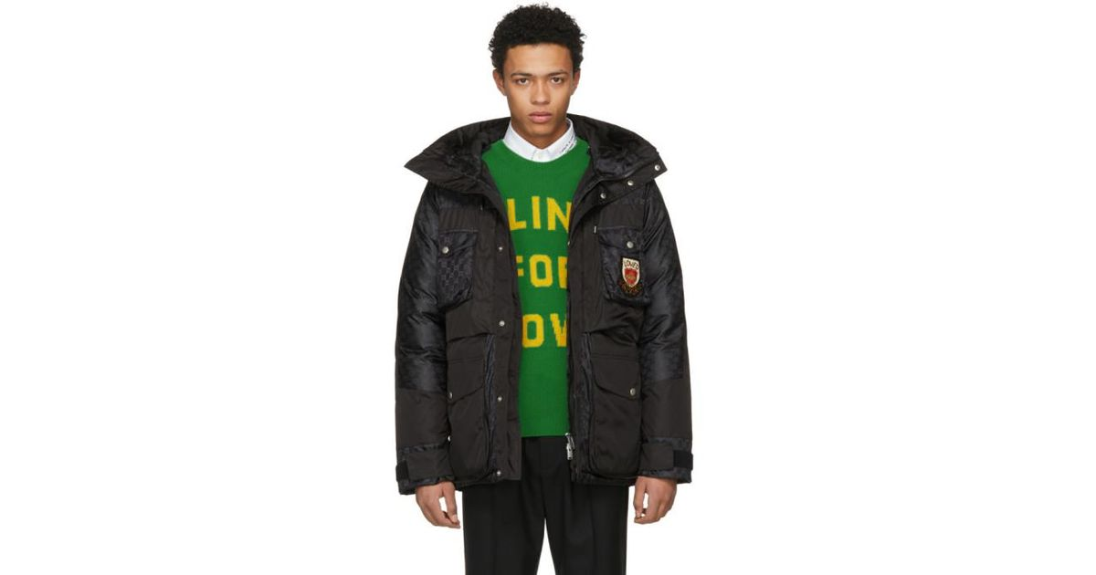 61befcc068b8 Gucci Black Down GG Coat in Black for Men - Lyst