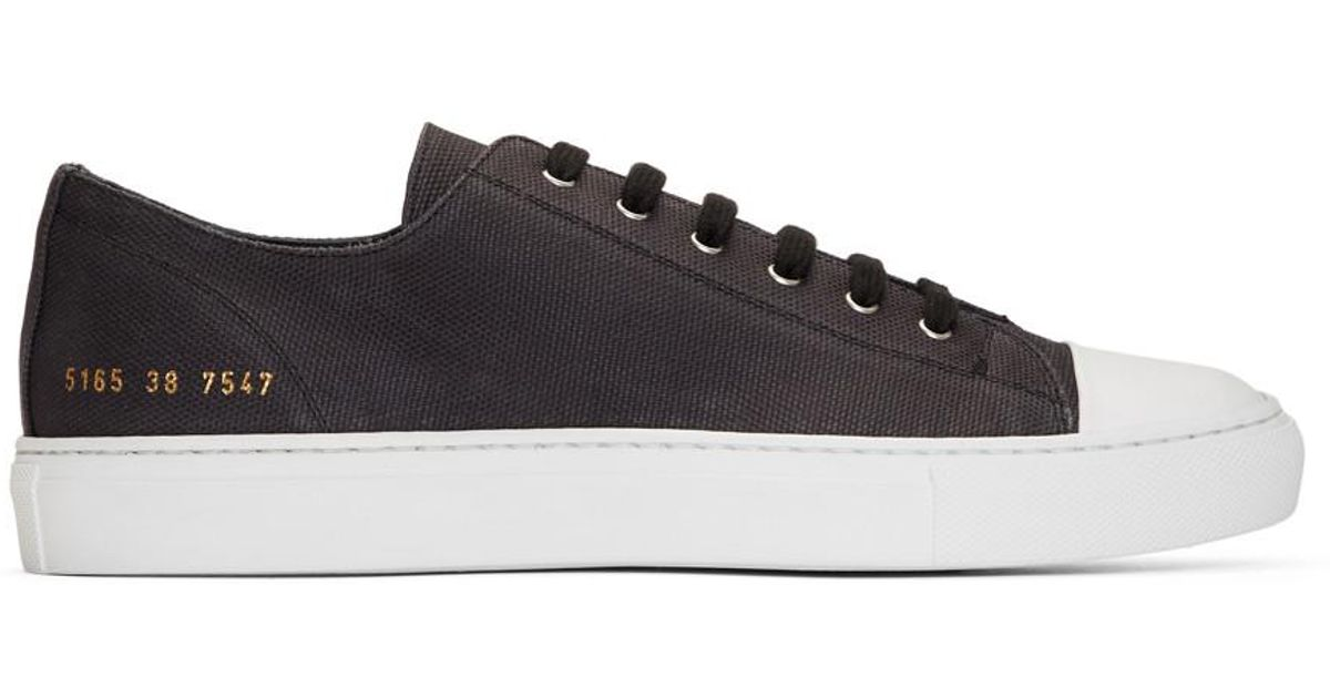Black Canvas Tournament Low Cap Toe Sneakers Common Projects 6One4Eg0