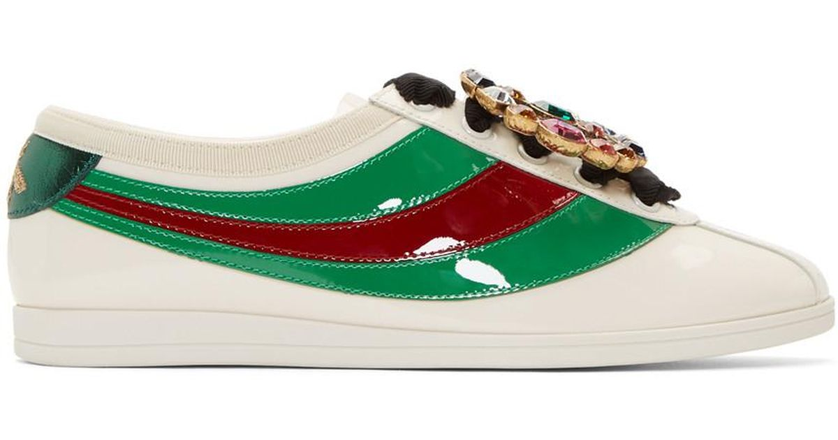 014e9a3eb36 Lyst - Gucci Ivory Falacer Bowling Sneakers in White