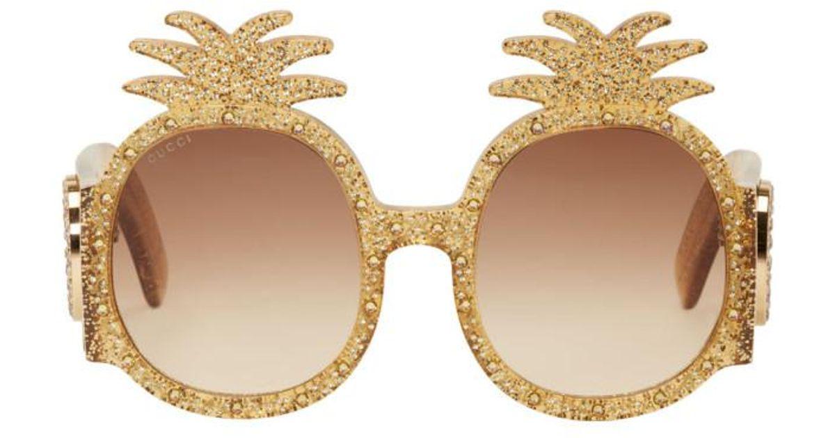 645001e1656 Gucci Yellow Pineapple Glitter Sunglasses in Yellow - Lyst