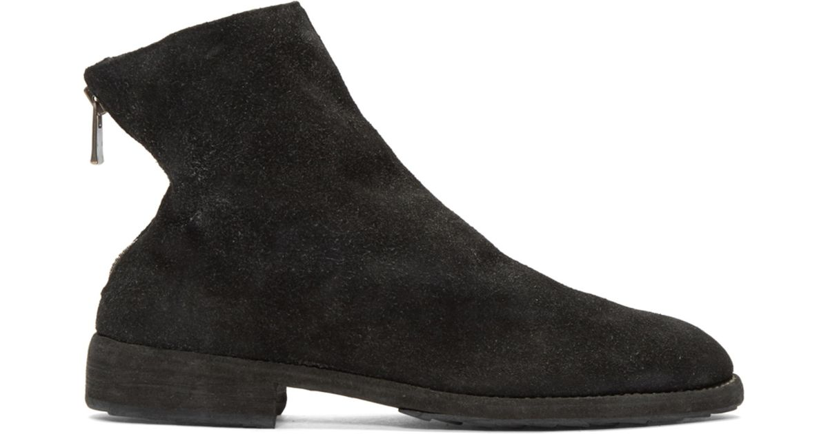 Guidi Black Suede Oxford Back Zip Boots j0M1enP