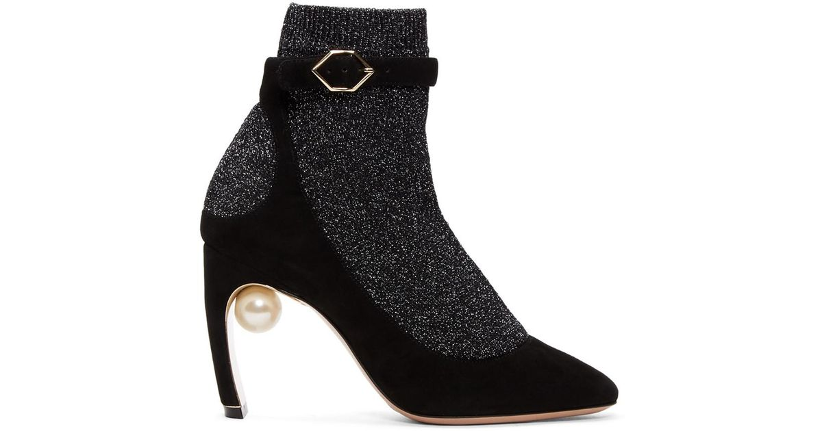 5c4e78904d90 Lyst - Nicholas Kirkwood Black And Gunmetal Lola Pearl Sock Pump Boots in  Black