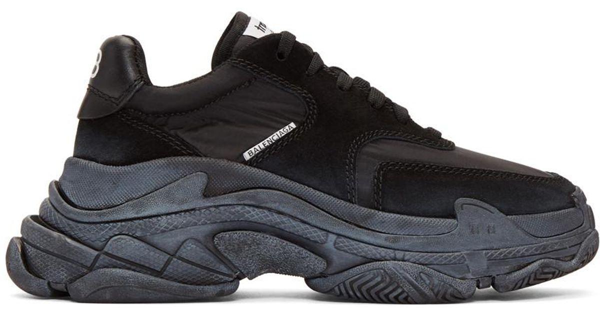 80907e05a6d5 Balenciaga Black Diagonal Logo Triple S Sneakers in Black - Lyst